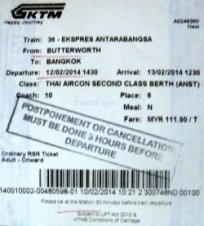 Ticket for the train to Bangkok from Butterworth Penang