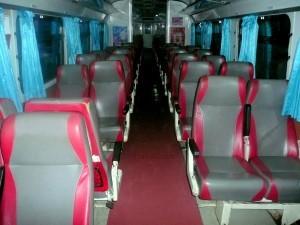 2nd class seats on a diesel railcar train