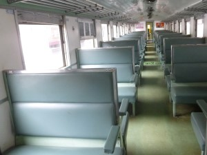 3rd class fan seats on Rapid train 170 in Thailand