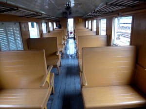 Third class Ordinary train wooden seat carriage