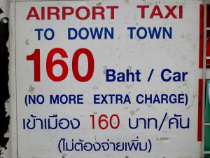 Airport Taxi fixed rate to downtown sign