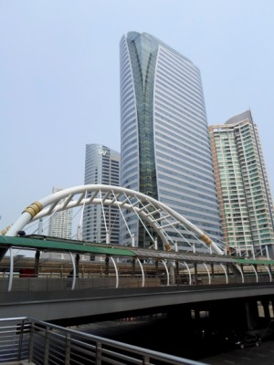 photo of the BRT BTS sky bridge at Sathorn