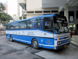 Bangkok to Pattaya bus at the platform