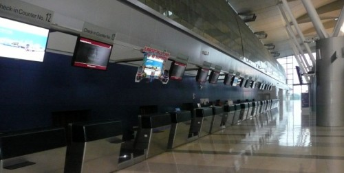 Check-in counters at Makkasan station