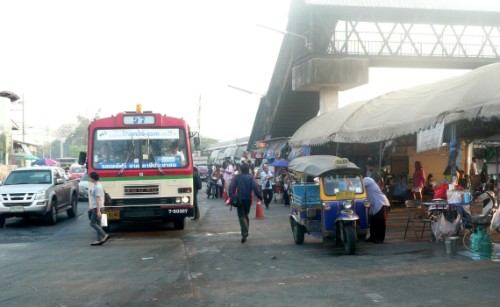 City bus stop at Bang Sue Junction Station Bangkok