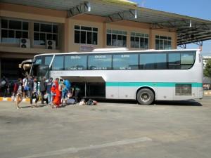 Green Bus from Chiang Rai at Arcade bus Station