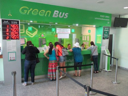 Green Bus ticket selling counters at Arcade Bus Station