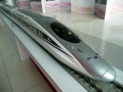 photo of a Model of a High-Speed Rail Train