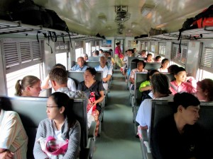 Inside a commuter train between Bangkok and Ayutthaya