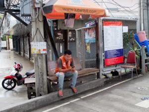 Motorbike Taxi stand at Phaya Thai