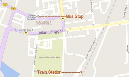Alor Setar Bus Stop Map