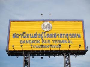 Sign for the Bangkok Bus Terminal at Sai Tai Mai