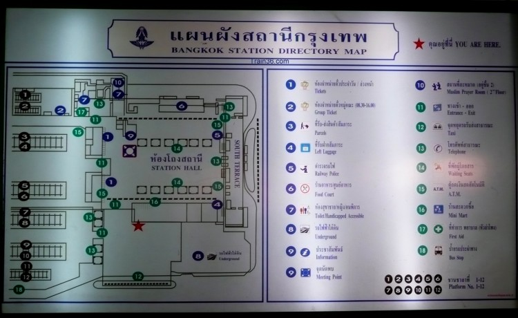 Map / Floor Plan of HuaLamphong Railway Station