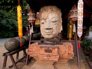 Beautiful old Buddha head at Wat Jet Lin