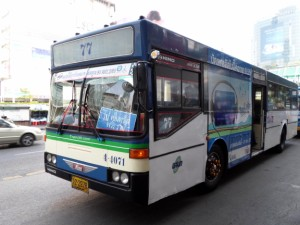 Blue / White air-con bus in Bangkok