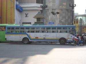 Blue / White regular bus in Bangkok