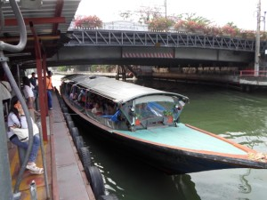 photo of a canal boat at Asoke pier