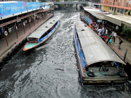 Canal boats at Pratunam Centre Pier