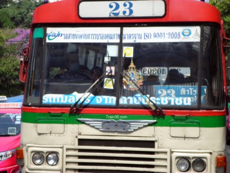 free red / cream regular bus in Bangkok