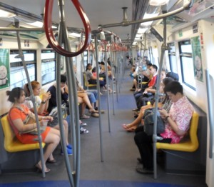 inside a BTS train in Bangkok
