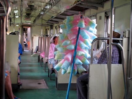Photo from inside the train from Wongwian Yai to Maha Chai
