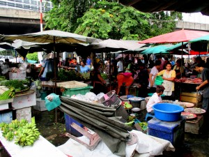 lively little market at the station