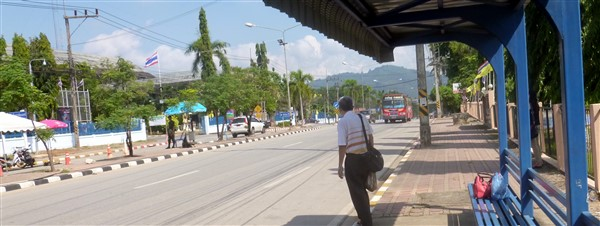The local bus stop for the bus from Padang Besar to Hat Yai