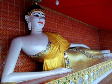 Lying Buddha statue at Wat Khun Chan in Talat Phlu
