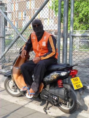 Photo of a motorbike taxi in Bangkok Thailand