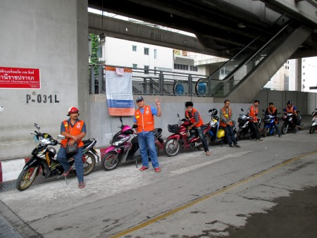 Motorbike taxi stand at Ratchaprarop Airport Link