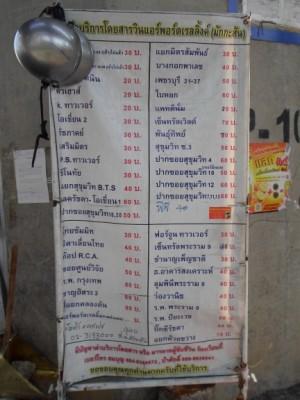motorbike taxi table of fares at Makkasan