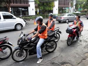 Motorbike taxi drivers by BTS Ari