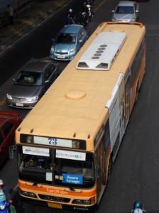 Orange air-con bus in Bangkok
