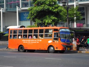 orange non air-con minibus in bangkok