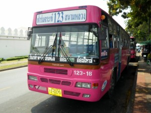 Pink regular bus in Bangkok