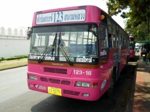 Pink regular bus in Bangkok