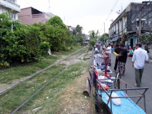 The railway track and street market