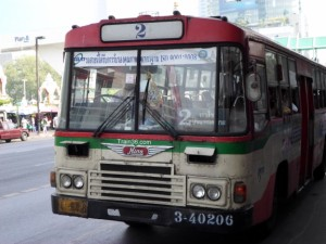 Red cream regular bus in Bangkok