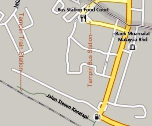 Map of Tampin Train Station and Bus Station