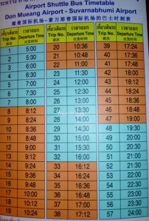 The timetable for the free shuttle bus from Don Muang airport