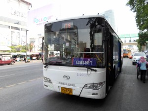 White air-con bus in Bangkok