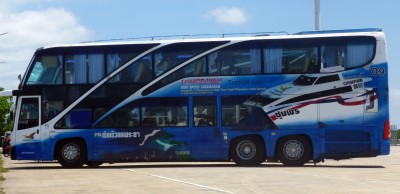Picture of the Lomprayah bus from Bangkok to Koh Tao