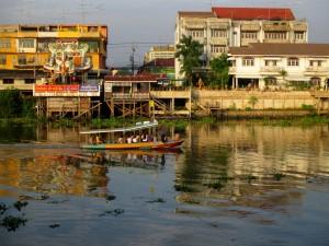 Boat crossing the Pasak River to Ayutthaya Island