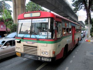 Bus #2 travels from Khaosan Road to Ekkamai
