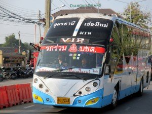 Bus leaving Arcade for Udon Thani