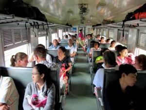 Inside a commuter train between Bangkok and Ayutthaya