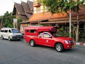 Red car in Chiang Mai Thailand