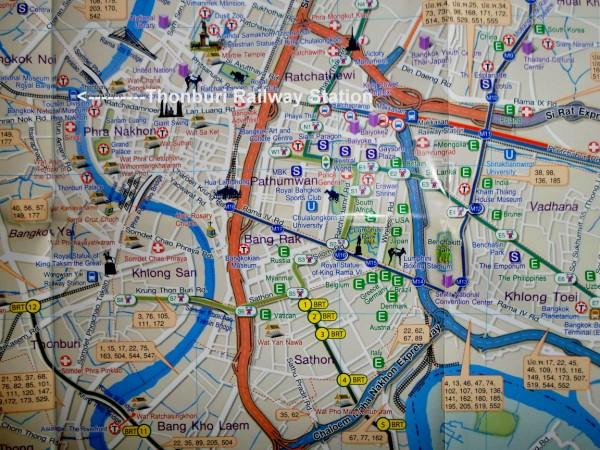 Map of Thonburi Railway Station in Bangkok