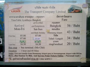 Timetable and fare table
