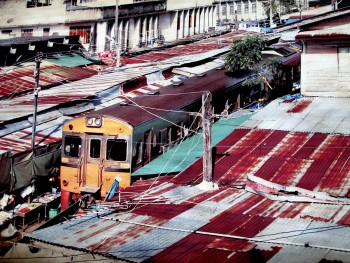 Aerial view of a train at Mae Klong